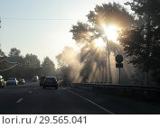 Купить «Утренний рассвет над Пехокой», эксклюзивное фото № 29565041, снято 21 сентября 2018 г. (c) Дмитрий Неумоин / Фотобанк Лори