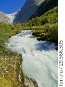 Купить «Briksdal Glacier River, Jostedalsbreen National Park, Norway, Scandinavia, Europe.», фото № 29566505, снято 19 июля 2019 г. (c) age Fotostock / Фотобанк Лори