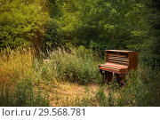 Купить «Berlin, Germany - Old piano parked in the park», фото № 29568781, снято 18 июня 2018 г. (c) Caro Photoagency / Фотобанк Лори