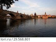 Купить «Prague, Hlavni mesto Praha, Czech Republic - Moldova and Charles Bridge. City view with a view of the old town.», фото № 29568801, снято 6 сентября 2018 г. (c) Caro Photoagency / Фотобанк Лори