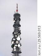 Купить «Reischach, Italy, mobile radio transmission tower», фото № 29569013, снято 5 февраля 2018 г. (c) Caro Photoagency / Фотобанк Лори