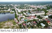 Купить «Panoramic aerial view of district of Gus-Khrustalny, Vladimir region, Russia», видеоролик № 29572077, снято 27 июня 2018 г. (c) Яков Филимонов / Фотобанк Лори