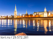 Купить «View of the Moskva River and the Kremlin (at night), Moscow, Russia--the most popular view of Moscow», фото № 29572281, снято 24 марта 2018 г. (c) Владимир Журавлев / Фотобанк Лори