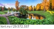 Купить «Чугунный мост через Славянку  bridge over the Slavyanka river in Pavlovsk», фото № 29572337, снято 23 сентября 2018 г. (c) Baturina Yuliya / Фотобанк Лори