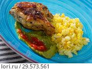 Купить «Fried chicken thighs with yellow rice and sauces», фото № 29573561, снято 17 декабря 2018 г. (c) Яков Филимонов / Фотобанк Лори