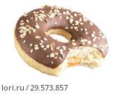 Купить «Isolated chocolate donut shot into stack. Photographed by stacking. Bitten donut. Donut stuffed.», фото № 29573857, снято 17 февраля 2019 г. (c) Александр Якимов / Фотобанк Лори