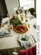 Купить «Новогодний стол с уткой», фото № 29575349, снято 3 декабря 2018 г. (c) Лисовская Наталья / Фотобанк Лори