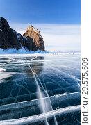 Купить «Lake Baikal. Olkhon Island in winter. Tourists rest near the famous Cape Khoboy on a sunny day», фото № 29575509, снято 8 марта 2015 г. (c) Виктория Катьянова / Фотобанк Лори