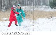 Купить «Family playing in the snow in the winter forest», видеоролик № 29575825, снято 29 января 2020 г. (c) Константин Шишкин / Фотобанк Лори
