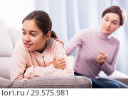 Купить «Mother reprimands her daughter», фото № 29575981, снято 26 марта 2019 г. (c) Яков Филимонов / Фотобанк Лори
