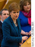 Купить «Politicians attend the Scottish First Minister's Questions at Holyrood which has just passed an alternative Brexit Bill. Featuring: Nicola Sturgeon Where...», фото № 29585381, снято 22 марта 2018 г. (c) age Fotostock / Фотобанк Лори