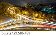 Купить «View on night city traffic with long exposure.», фото № 29586489, снято 16 декабря 2018 г. (c) Ольга Сергеева / Фотобанк Лори