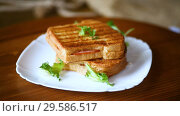 Купить «Hot double sandwich with lettuce leaves and stuffed in a plate», видеоролик № 29586517, снято 27 ноября 2018 г. (c) Peredniankina / Фотобанк Лори