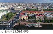 Купить «Flight over Neva River in St. Petersburg center», видеоролик № 29591605, снято 10 сентября 2018 г. (c) Михаил Коханчиков / Фотобанк Лори