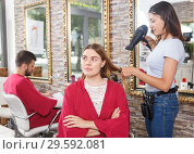 Купить «Girl professional hairdresser styling and drying hair with fen of woman», фото № 29592081, снято 25 апреля 2018 г. (c) Яков Филимонов / Фотобанк Лори