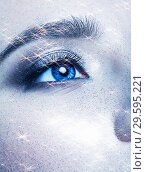 Купить «Portrait of beautiful young woman with vogue shining sparkle face makeup», фото № 29595221, снято 4 ноября 2018 г. (c) Serg Zastavkin / Фотобанк Лори