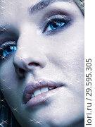 Купить «Portrait of beautiful young woman with vogue shining sparkle face makeup», фото № 29595305, снято 4 ноября 2018 г. (c) Serg Zastavkin / Фотобанк Лори