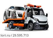 Купить «Cartoon tow truck isolated on white background», иллюстрация № 29595713 (c) Александр Володин / Фотобанк Лори