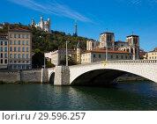 Купить «Fourviere hill and bridge across Saone river, Lyon», фото № 29596257, снято 12 октября 2018 г. (c) Яков Филимонов / Фотобанк Лори
