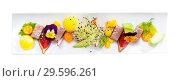 Купить «Tasty fried tuna with mango and avocado, served with fig and flower», фото № 29596261, снято 14 октября 2019 г. (c) Яков Филимонов / Фотобанк Лори