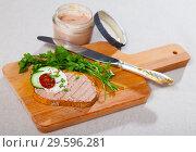 Купить «Toasted bread with rillettes and fresh cheese on wooden board», фото № 29596281, снято 25 мая 2019 г. (c) Яков Филимонов / Фотобанк Лори