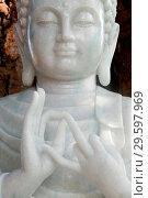 Купить «Thien Hoa buddhist pagoda. Marble Buddha statue. Mudra. Close-up. Cai be. Vietnam.», фото № 29597969, снято 21 марта 2019 г. (c) age Fotostock / Фотобанк Лори