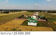 Купить «Rural autumn landscape from height in Russia. Upward movement», видеоролик № 29600369, снято 21 декабря 2018 г. (c) Володина Ольга / Фотобанк Лори