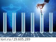Купить «The artificial intelligence concept with businessman out of tube», фото № 29605289, снято 22 октября 2019 г. (c) Elnur / Фотобанк Лори