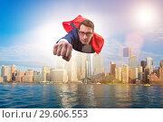 Купить «The superhero businessman flying over the city», фото № 29606553, снято 14 декабря 2019 г. (c) Elnur / Фотобанк Лори