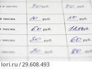Купить «График платежей кредитного договора написанный от руки», эксклюзивное фото № 29608493, снято 19 декабря 2018 г. (c) Игорь Низов / Фотобанк Лори