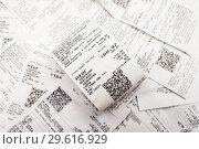 Купить «Фон из магазинных, кассовых чеков», эксклюзивное фото № 29616929, снято 19 декабря 2018 г. (c) Игорь Низов / Фотобанк Лори