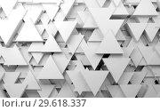 Купить «Abstract white background with random triangles pattern», иллюстрация № 29618337 (c) EugeneSergeev / Фотобанк Лори