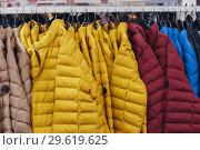 Купить «Winter jackets hang on a hanger. Sale of winter clothes in cloth», фото № 29619625, снято 19 декабря 2018 г. (c) Владимир Арсентьев / Фотобанк Лори