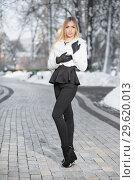 Купить «Thoughtful young blonde.», фото № 29620013, снято 16 января 2016 г. (c) Сергей Сухоруков / Фотобанк Лори