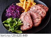 Купить «beef tongue aspic with coleslaw and french fries», фото № 29620449, снято 18 декабря 2018 г. (c) Oksana Zh / Фотобанк Лори
