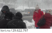 Купить «Горожане идут по тротуару во время снежной метели», видеоролик № 29622797, снято 28 декабря 2018 г. (c) А. А. Пирагис / Фотобанк Лори