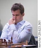 Купить «Чемпион мира Magnus Carlsen, Норвегия на чемпионате мира по быстрым шахматам в Санкт-Петербурге», фото № 29623361, снято 28 декабря 2018 г. (c) Stockphoto / Фотобанк Лори