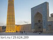 Купить «Kalon minaret and mosque, Bukhara, Uzbekistan.», фото № 29624289, снято 27 января 2020 г. (c) age Fotostock / Фотобанк Лори