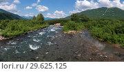 Купить «Панорама: горная река летом», фото № 29625125, снято 6 августа 2018 г. (c) А. А. Пирагис / Фотобанк Лори