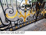 Купить «Openwork gates of the residence of the President of the Republic of Tatarstan», фото № 29625437, снято 10 июня 2018 г. (c) FotograFF / Фотобанк Лори
