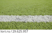 Купить «White line of the soccer field. Close-up horizontal slider shot», видеоролик № 29625957, снято 2 октября 2018 г. (c) Dzmitry Astapkovich / Фотобанк Лори