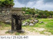 Купить «Древний хачкар в монастырском комплексе Ахтала, Армения», фото № 29626441, снято 27 сентября 2018 г. (c) Инна Грязнова / Фотобанк Лори