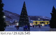 Купить «Новогодняя елка в городе Петропавловске-Камчатском, ночной вид», видеоролик № 29626545, снято 31 декабря 2018 г. (c) А. А. Пирагис / Фотобанк Лори