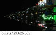 Купить «Люди гуляют и фотографируются у Новогодней елки. Вертикальное видео», видеоролик № 29626565, снято 31 декабря 2018 г. (c) А. А. Пирагис / Фотобанк Лори