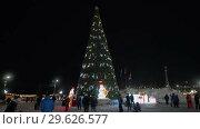 Купить «Люди гуляют у новогодней елки. Петропавловск-Камчатский. . Time Lapse», видеоролик № 29626577, снято 31 декабря 2018 г. (c) А. А. Пирагис / Фотобанк Лори