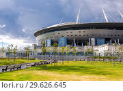 Купить «Saint Petersburg Arena football stadium on Krestovsky island», фото № 29626645, снято 8 августа 2018 г. (c) FotograFF / Фотобанк Лори