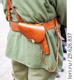 Купить «Vintage leather belt with holster of retro uniform», фото № 29626837, снято 6 октября 2018 г. (c) FotograFF / Фотобанк Лори