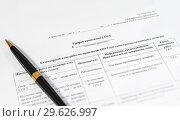 Купить «Специальная оценка рабочих мест. График  проведения СОУТ и ручка», эксклюзивное фото № 29626997, снято 29 декабря 2018 г. (c) Абрамова Ксения / Фотобанк Лори