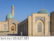 Купить «At left Hazroti Imom Friday Mosque and at right Moyie Mubarek Library Museum, Tashkent, Uzbekistan.», фото № 29627381, снято 24 июня 2019 г. (c) age Fotostock / Фотобанк Лори