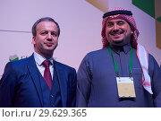 Купить «Arkady Dvorkovich, FIDE President, and Prince Fahd bin Jalawi bin Abdul Aziz, executive director at the Saudi Arabian Olympic Committee», фото № 29629365, снято 30 декабря 2018 г. (c) Stockphoto / Фотобанк Лори